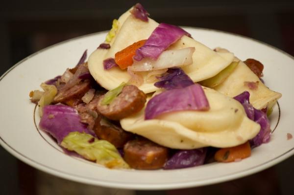 Cabbage and pierogi skillet